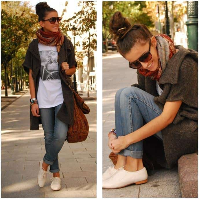 very Spanish look, baggy sweater layers, oxford shoes, big ...